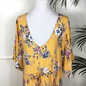 torrid Dresses - Torrid Yellow Floral Challis Midi Dress Womens 3X